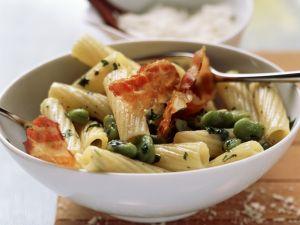 Pasta mit Saubohnen und Bacon Rezept