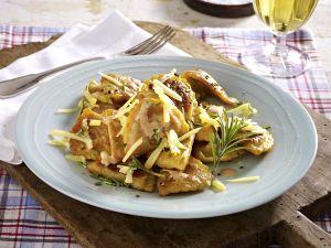Pfannen Pasta Pilze und Ricotta mit Käse Rezept