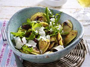 """Pfannen Pasta """"Pilze und Ricotta"""" mit Rucola Rezept"""