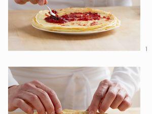 Pfannkuchen mit Marmeladenfüllung herstellen Rezept