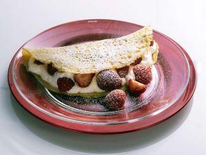Pfannkuchen mit Quark-Erdbeerfüllung Rezept