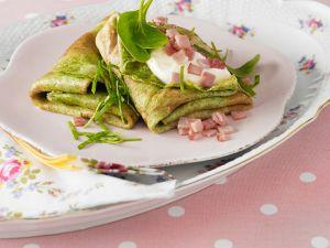 Pfannkuchen mit Spinat und Schinken Rezept