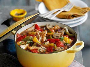 Pikanter Gemüse-Puten-Eintopf Rezept