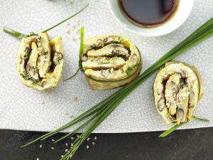 Pilz-Omelett-Röllchen Rezept