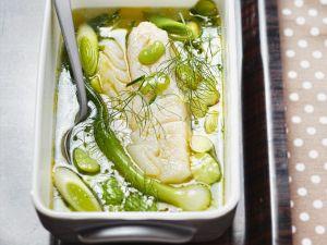 Pochierter Kabeljau im Gemüsesud Rezept