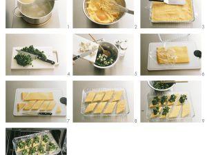 Polentaschnitten mit Spinat zubereiten Rezept