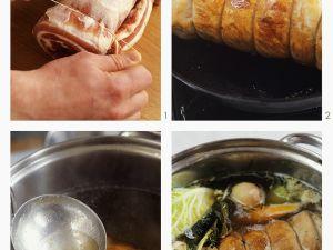 Pot-au-feu mit Schweinebauch zubereiten Rezept