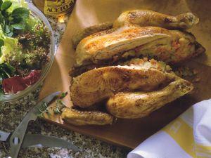 Poulardenbraten mit Kartoffelfüllung Rezept