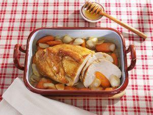 Putenbraten mit Honigglasur und Gemüse Rezept