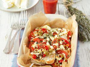 Putenbrust mit Oliven, Feta und Tomaten Rezept
