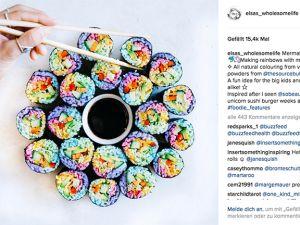 Rainbow-Sushi: bunte Bissen
