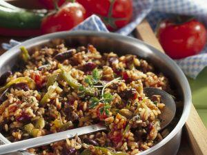 Reis-Bohnen-Pfanne mit Rindfleisch Rezept
