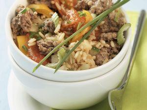 Reis-Gemüsepfanne mit Hackfleisch Rezept