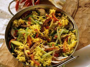 Reis-Gemüsepfanne mit Rinderfilet Rezept