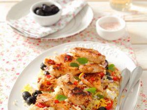 Reis-Gemüsesalat mit Hähnchen Rezept