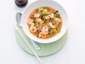 Reis-Gemüsesuppe mit Shrimps Rezept