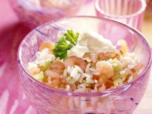 Reis-Gurken-Salat mit Crevetten Rezept