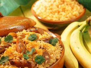 Reis mit Banane und Würstchen Rezept