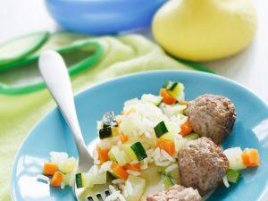 Reis mit Gemüse und Fleischbällchen Rezept