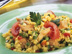 Reis mit Hähnchen und Zucchini Rezept