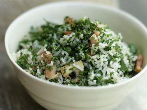 Reis-Pilzsalat mit Speck Rezept