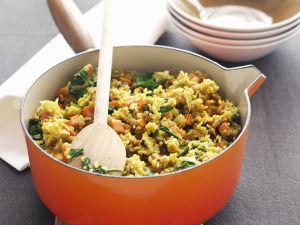 Reis-Spinat-Topf mit Süßkartoffeln Rezept