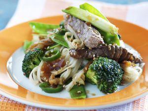 Reisnudeln mit Rind und Brokkoli Rezept