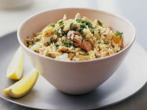 Reispfanne mit Fisch auf englisch-indische Art (Kedgeree) Rezept