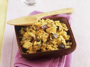 Reispfanne mit Putenfleisch und Aubergine Rezept