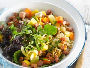 Reissalat mit Schinken und Käse Rezept