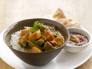 Rindercurry mit Süßkartoffel und Reis Rezept