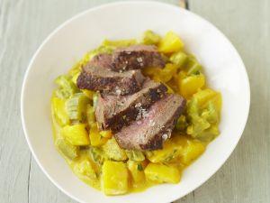 Rinderfilet mit Kartoffeln in Safransauce Rezept