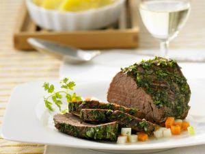 Rinderfilet mit Kräuterhülle und Kartoffelauflauf Rezept