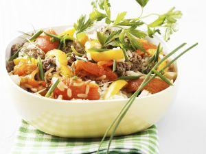 Rinderhack-Reispfanne mit Kräutern Rezept