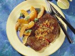 Rindersteak mit Aprikosensalat auf karibische Art Rezept