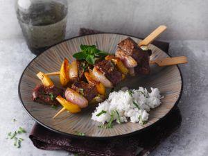 Rindfleisch-Gemüse-Spieße mit Kokos-Chutney Rezept