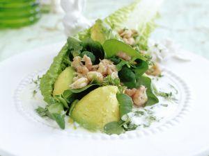 Römersalat mit Avocado und Krabben mit Kressedressing Rezept