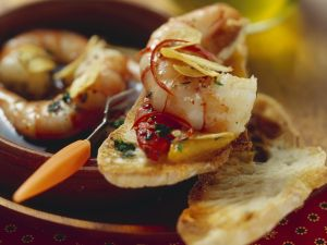 Röstbrot mit gebratenen Shrimps Rezept