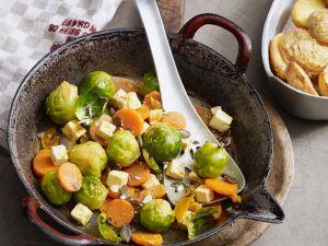 Rosenkohlgemüse mit Käse und Aprikosen Rezept