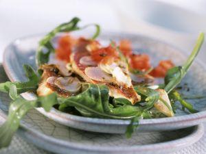 Rotbarbe auf Rucola mit Tomaten-Vinaigrette Rezept