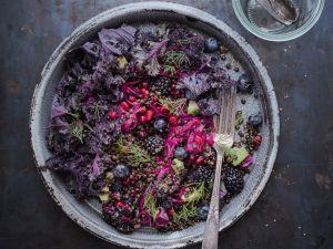 Rotkohlsalat mit Linsen und Brombeeren Rezept