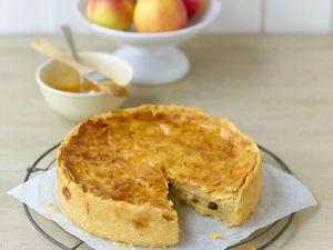 Saftiger gedeckter Apfelkuchen mit Rosinen und Zimt Rezept