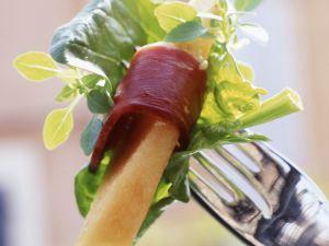 Salat frischen Spinat, Ente und Melone Rezept