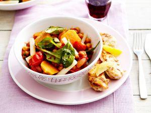 Salat mit Kichererbsen, Schwarzwurzeln und Süßkartoffeln Rezept
