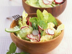 Salat mit Radieschen und Minz-Limetten-Vinaigrette Rezept