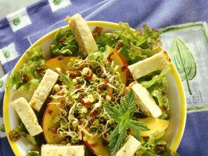 Salat mit Sprossen, Nektarinen und Croutons Rezept