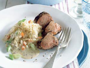 Sauerkraut mit Senfcreme und Schweinefilet Rezept