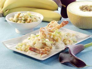 Scampi-Spieße mit Melonen-Bananen-Salsa Rezept
