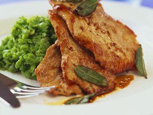 Schnitzel mit Kartoffel-Erbsenpüree Rezept