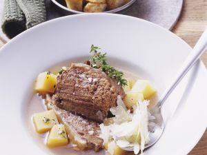 Schulter vom Ochsen mit Steckrüben und Parmesan Rezept